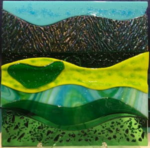"'Ho'omaluhia View' Fused Glass by Liz Train 12""x 12"" $400"