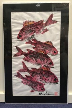 """'Menpachi House' Gyotaku on Washi by Naoki Hayashi 26""""H x 16.5""""W matted"""