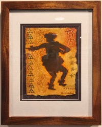 "'Hula Kahiko Kane' Original Watercolor by Cindy Conklin 15""H x 12""W in Koa frame $425"