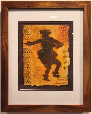"'Hula Kahiko Kane' Original Watercolor by Cindy Conklin 15""H x 12""W in Koa frame $425"