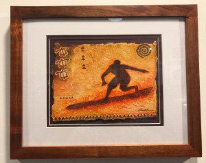 "'Kane He'e Nalu' Original Watercolor by Cindy Conklin 12.25""H x 15.25""W in Koa frame $425"