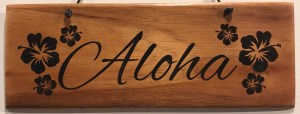 "'Aloha' Large Hanging Koa Plaque 4""x 11"" (representative) by Honolulu Woodworking Designs $36"