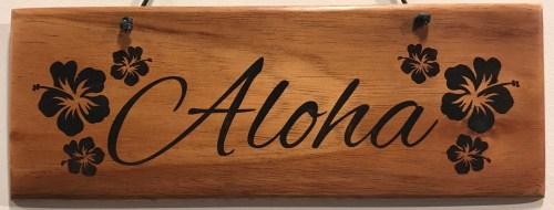 "'Aloha' Large Hanging Koa Plaque 4""x 11"" (representative) by Honolulu Woodworking Designs $36"