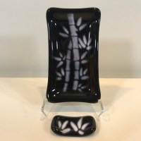 """Black & White Bamboo Dish with Hashi Fused Glass by Kathryn Farley 5""""L x 3""""W $40"""