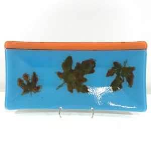 "Blue Orange Leaf Platter Fused Glass by Kathryn Farley 12""L x 6""W $60"