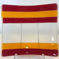 "Dichroic Fused Glass Plate by Dana Yee 5.5""x 5.5"" $85"