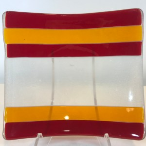 "Dichroic Fused Glass Plate by Dana Yee 5.5""x 5.5"" $85"