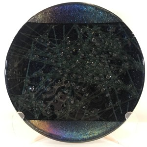 "Dichroic Fused Glass Plate by Kurt McVay 11.75""D $168"
