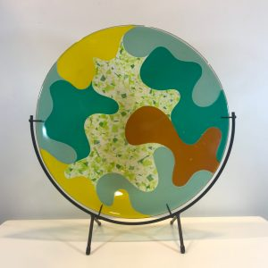 "'Ditto 18' Fused Glass by Terry Savage 17D 19""H x 8""W with stand $300"