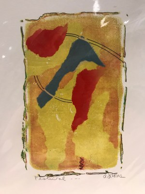 "'Festival' Original Monoprint by Anne Irons 14""x 11"" $45"
