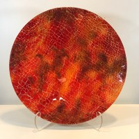 """'Hot Planet' Fused Glass by Terry Savage 17""""D $350"""