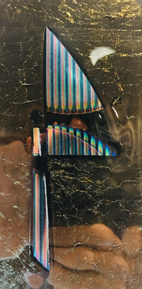 """'House, Flag Lot' Fused Glass by Sabra Rae Feldstein 12.75""""H x 4""""W $60"""