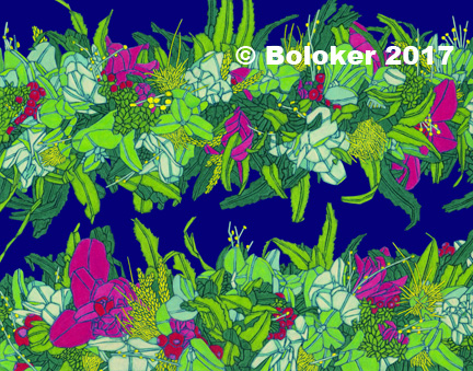 Mixed Haku with Fuchsia Orchids, Lei Print by Judd Boloker, various sizes