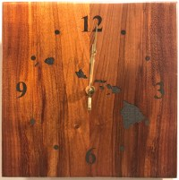 "Koa Wall Clock 10""x 10"" (representative) by Honolulu Woodworking Designs $138"
