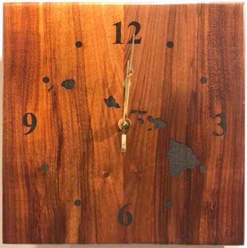 "Koa Wall Clock 10""x 10"" (representative) by Honolulu Woodworking Designs $138"