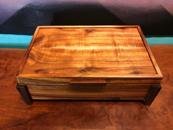 "Large Koa Footed Box with Tray 13.25""x 8.75""x 4.5"" (representative) by Honolulu Woodworking Designs $450"