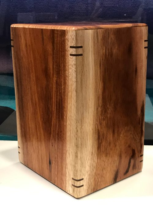 "Large Koa Urn with Splines 9""H x 6.25""W x 5.25""D / interior:8.25""x5.75""x4.75; Capacity 225 lbs"