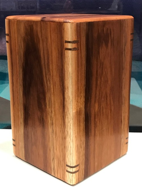"Medium Koa Urn with Splines 8""H x 4 7/8""W x 4 7/8""W / interior: 7.5""x4.25""x4.25; Capacity 135 lbs"