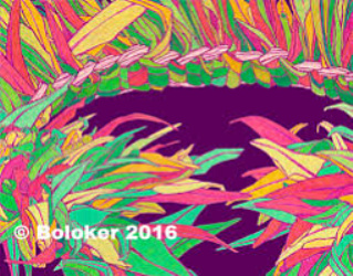Multicolored Ti Leaf Haku, Lei Print by Judd Boloker