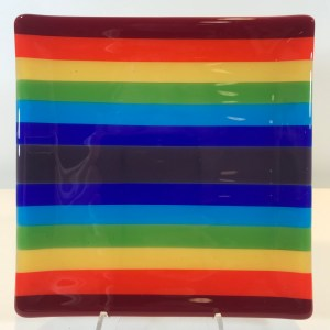"'Rainbow Square' Fused Glass Dish by Kathryn Farley 7""x 7"" $75"