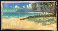 "'Pounders Beach' Original Mixed Media Acrylic Painting by Russell Lowrey 36""H x 74""W rolled $6500"