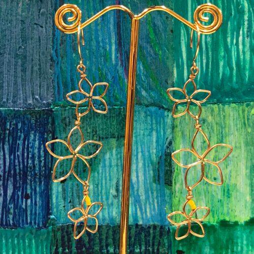 'Three Plumeria Earrings' by Leinai'a $78