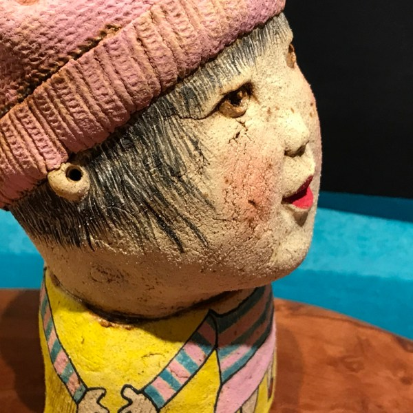 """Girl in Pink Hat Stoneware Sculpture by Jo Rowley 7""""H x 3.5""""W x 4.5""""D $300"""