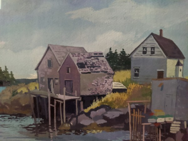 """'Peaceful Village' Acrylic by Rosalie Prussing, Image size: 13"""" x 16"""", Framed size: 19.25"""" x 22.25"""" $1100"""
