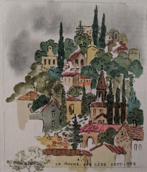 """'Travels to Italy' Watercolor and pen by Rosalie Prussing, Image size: 6"""" x 7"""", Framed size: 13.25"""" x 16.25"""" $495"""