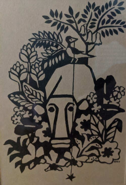 "Best Friends, Silk Screen by Rosalie Prussing, Image size: 4.5"" x 6.5"", Framed size: 9.5"" x 11.5"" $75"