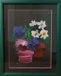 "'Rosalie's Garden Flowers' Acrylic by Rosalie Prussing, Image size: 8.5"" x 11.5"", Framed size: 12.5"" x 15.5"" $595"