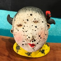 "Freckle Face Girl with Birds & Bees Stoneware Sculpture by Jo Rowley 3.5""H x 3.5""W x 3.25""L $200"