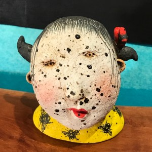 """Freckle Face Girl with Birds & Bees Stoneware Sculpture by Jo Rowley 3.5""""H x 3.5""""W x 3.25""""L $200"""
