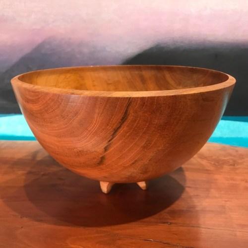 """Mahogany Footed Bowl w Pewa by Rob Hale 5""""H x 8.5""""D $240"""