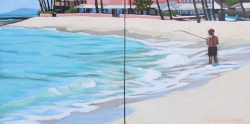 "'Fishing Waikiki' Original Acrylic Painting on Cradled Wood 8""x 16"" Diptych by Brenda Cablayan $1100"