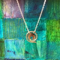 "Maui Wave Sterling Silver Small .75""D Pendant on Chain (Variable Length) by Carl Grundy $120"