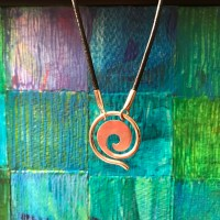"Maui Wave Sterling Silver Small 0.75""D Pendant on Leather Cord (Variable Length) by Carl Grundy $100"