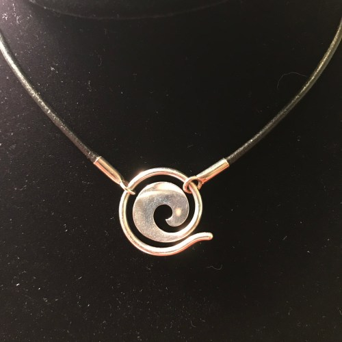 """Maui Wave Sterling Silver Small 0.75""""D Pendant on Leather Cord (Variable Length) by Carl Grundy $100"""