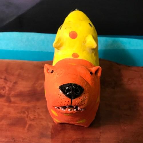 "Yin Yang Dog Stoneware Sculpture 5.5""H x 6.5""L x 3""W by Jo Rowley $300"