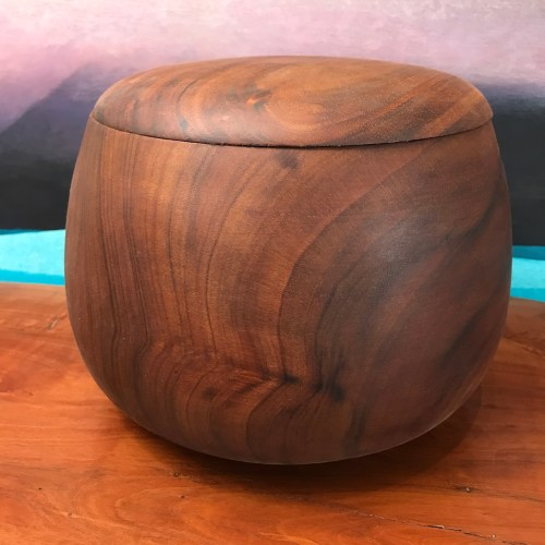 "Lidded Koa Umeke 7""H x 9""D by Gordon Tang $1550"