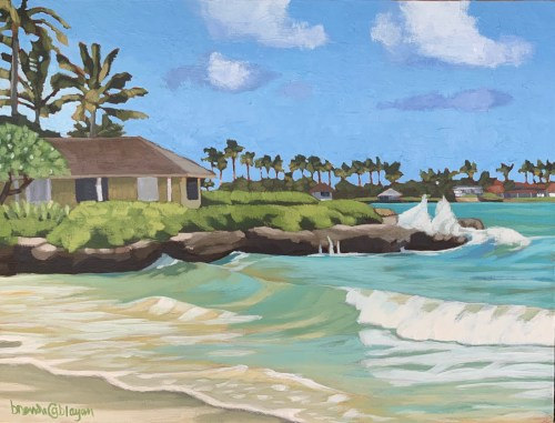 """'Far End of the Beach' Original Acrylic Painting on Cradled Wood 12""""x 16"""" by Brenda Cablayan $1600"""