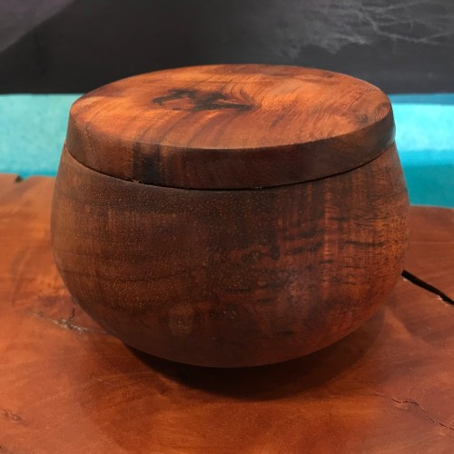"Lidded Koa Umeke 3.5""H x 4.5""D by Gordon Tang $250"