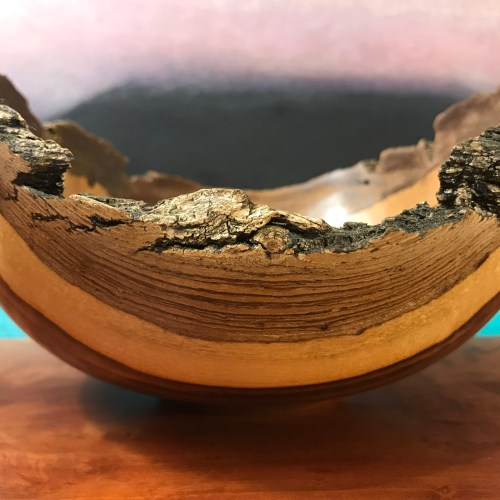 """Natural Edge Geiger Bowl 5""""H x 9""""W x 8""""D by Andy Cole $375"""