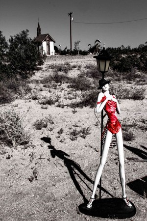 Glass Outhouse Art Gallery | Lady in Red
