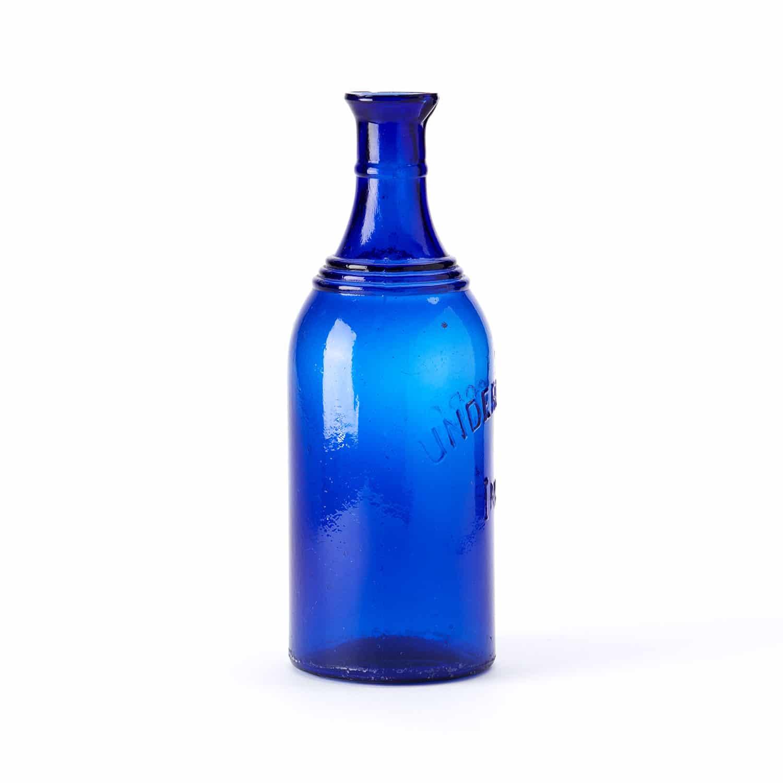Glass Bottle No 17 Vintage Cobalt Blue