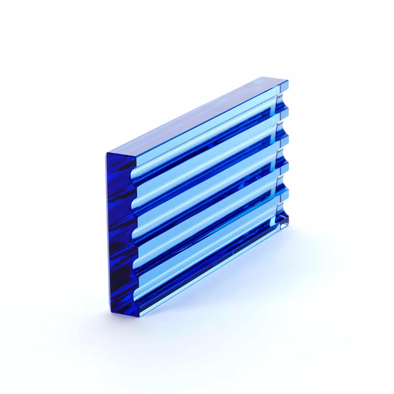 Abstract Form No 4 Blue Glass Scalloped Block