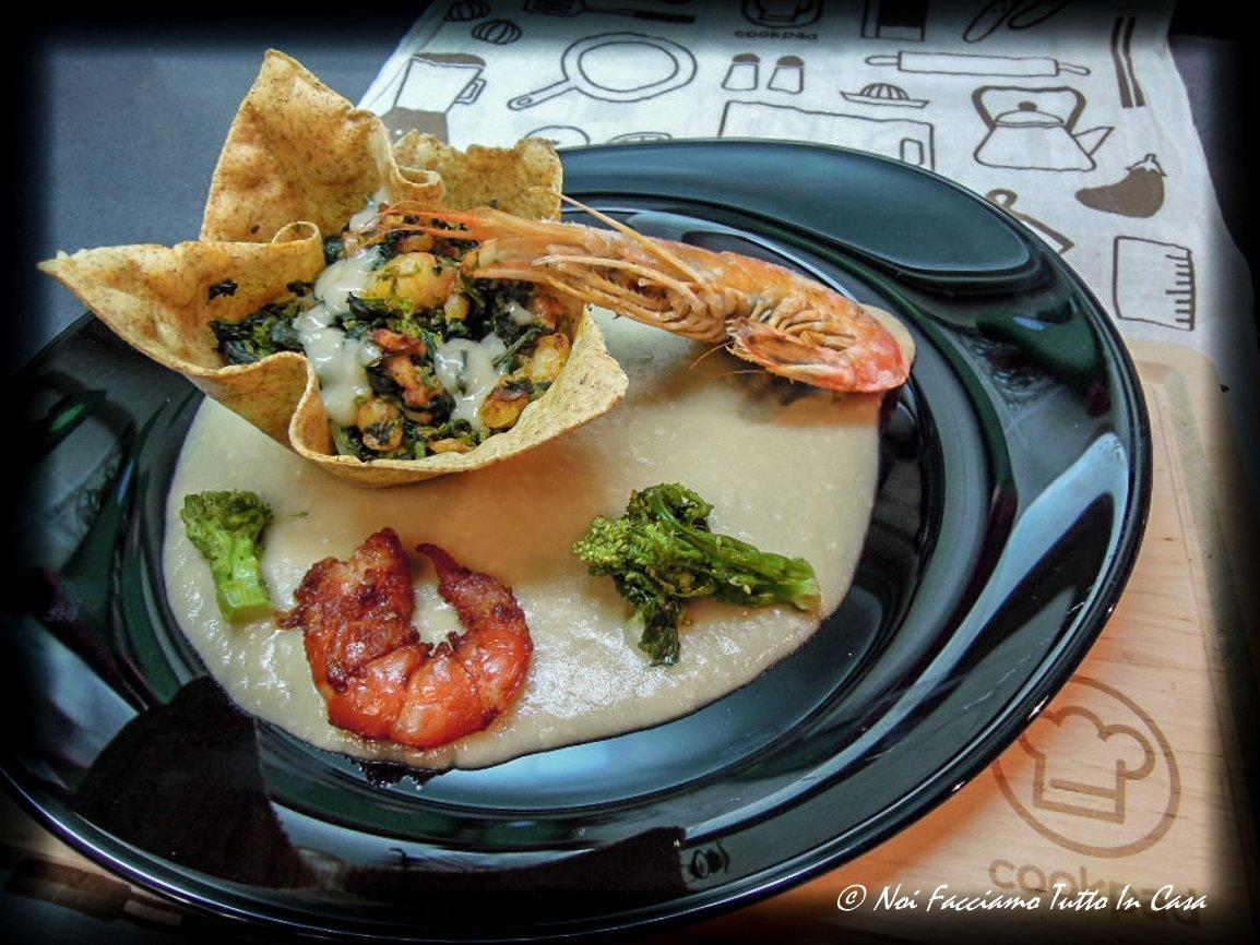 Cestino di lasagna con cima di rapa e gamberi-ar1-2