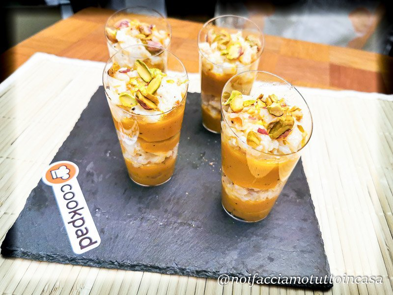 Finger Food in bicchierino baccala zucca e pistacchi