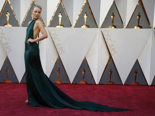 """Rachel McAdams, wearing August Getty Atelier and  nominated for Best Supporting Actress for her role in """"Spotlight,"""" arrives. REUTERS/Lucy Nicholson"""