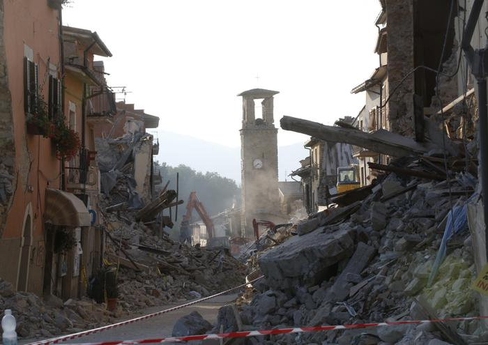 A view of Amatrice, central Italy, Friday, Aug. 26, 2016 where a 6.1 earthquake struck just after 3:30 a.m., Wednesday. Rescue workers acknowledged Friday they might not find any more survivors from Italy's earthquake as they confronted a new obstacle to their recovery work: A powerful aftershock damaged two key access bridges to hard-hit Amatrice, threatening to isolate it. (ANSA/AP Photo/Antonio Calanni) [CopyrightNotice: Copyright 2016 The Associated Press. All rights reserved. This material may not be published, broadcast, rewritten or redistribu]